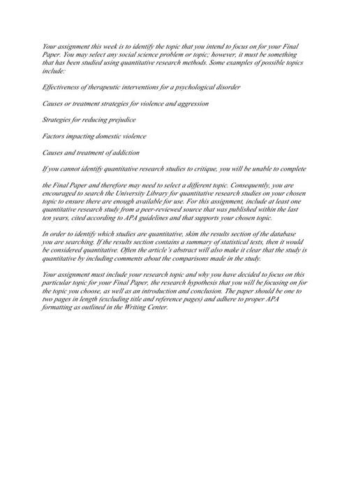 PSY 325 Week 1 Assignment Final Paper Topic Proposal by