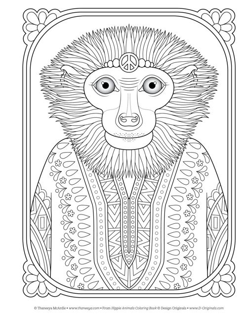 Hippie Animals Coloring Book Fox Chapel Publishing