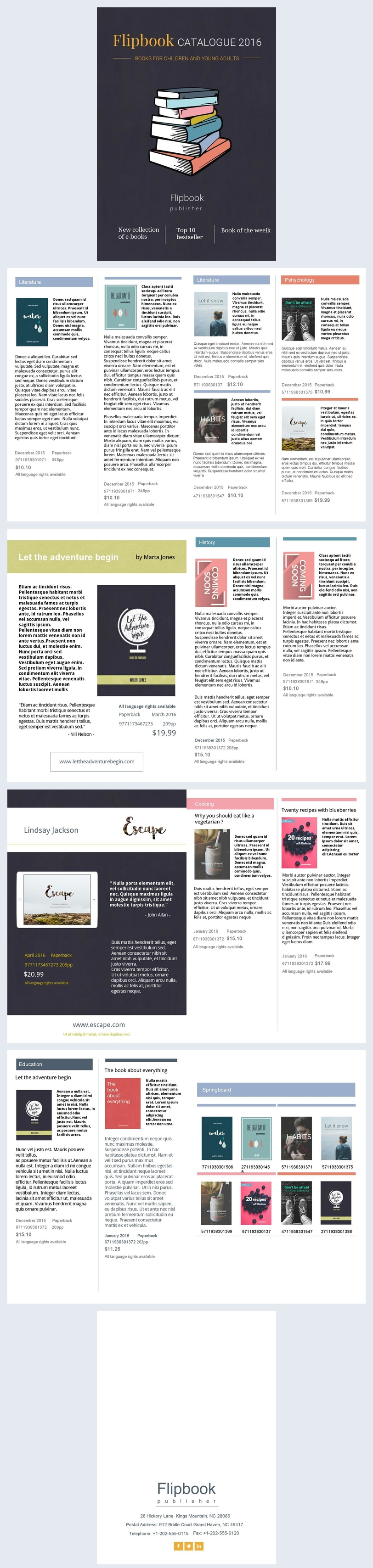 Diseño retro para catálogo de libros