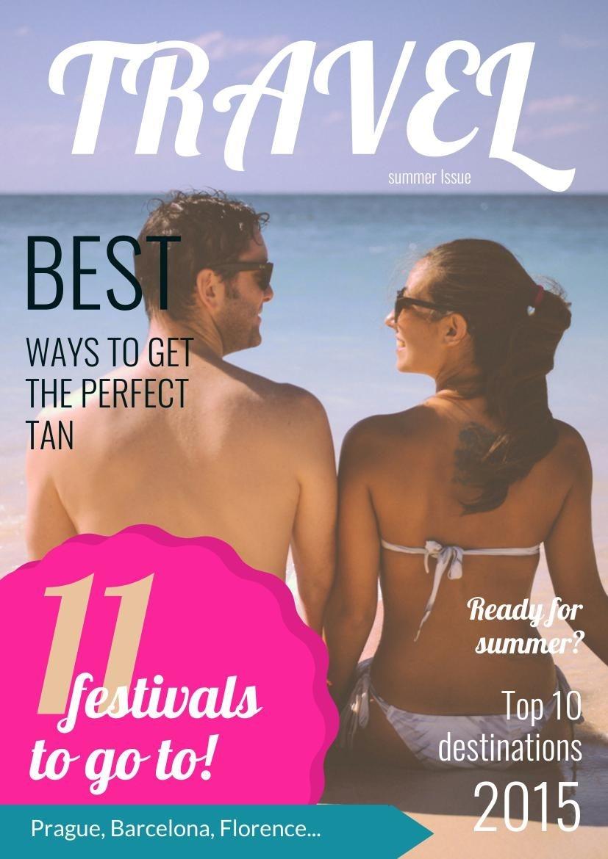 Design de Capa de Revista de Viagem de Verão