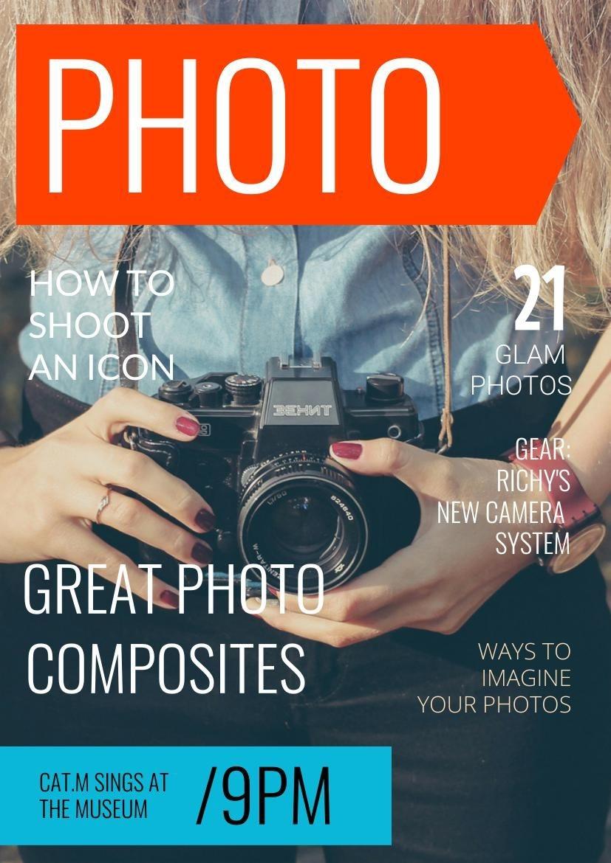 Diseño para portada de revista fotográfica moderna