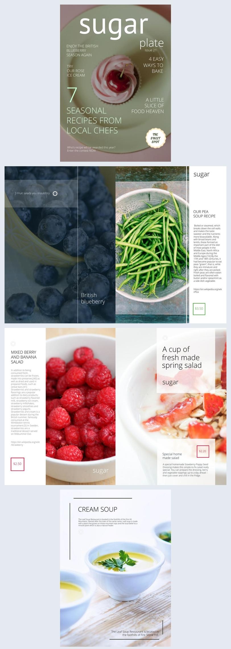 Diseño de plantilla apetitosa para revista de comida