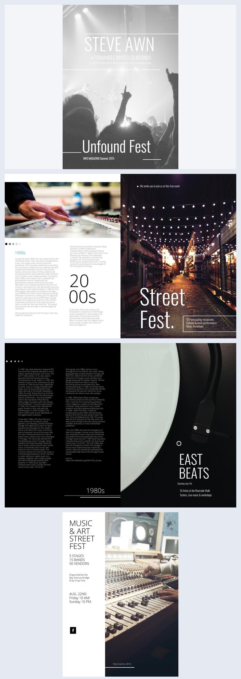 Diseño para folleto de festival de música