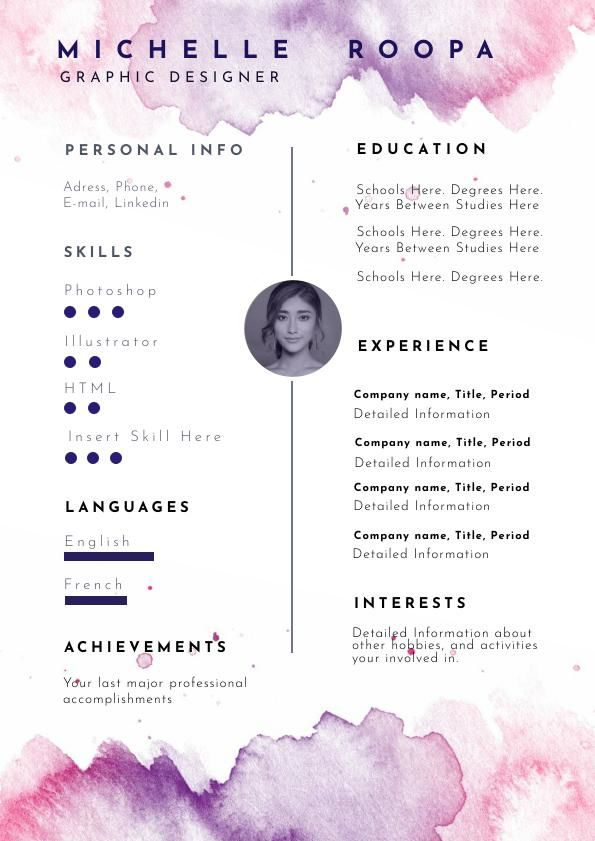 pastel watercolor resume template  u0026 design