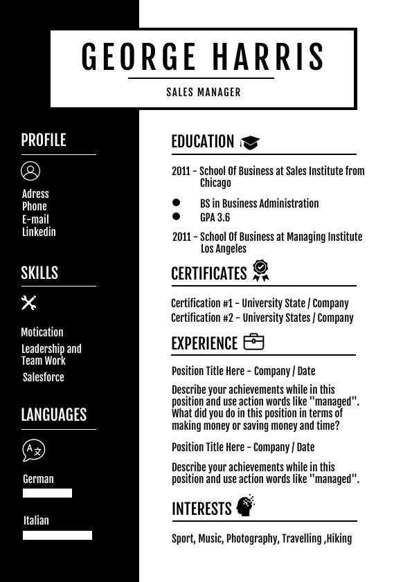 Professional Manager Resume Template Flipsnack