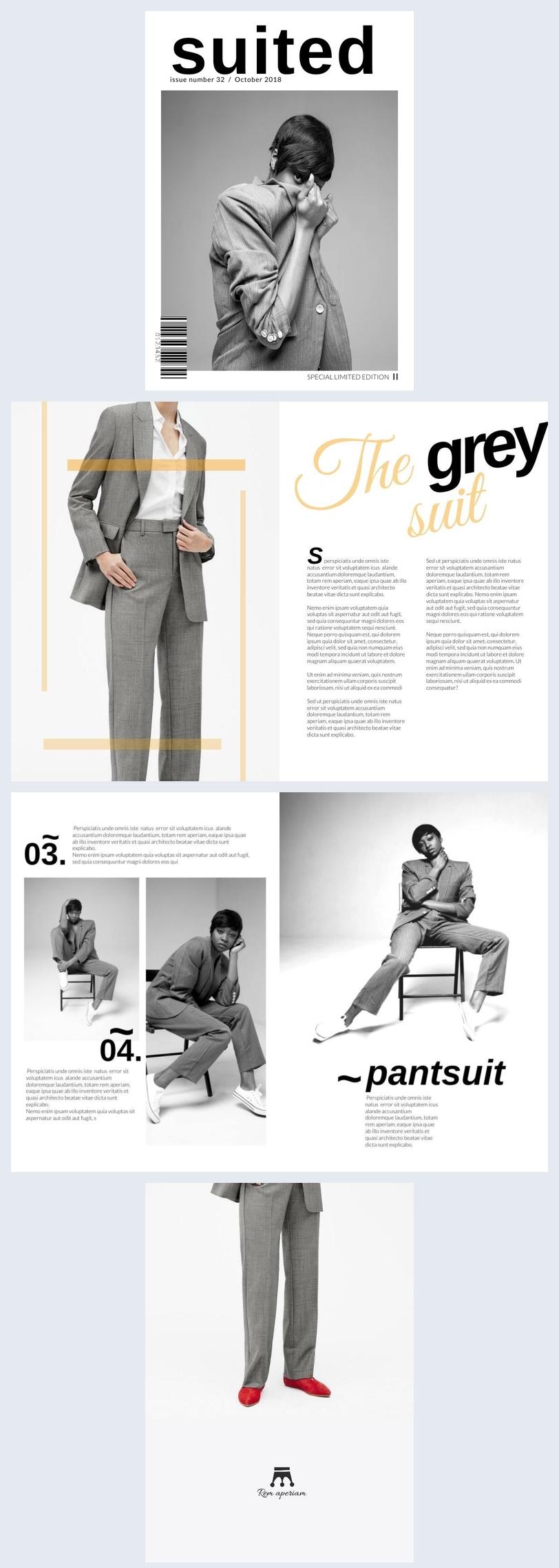Design de magazine de mode noir et blanc