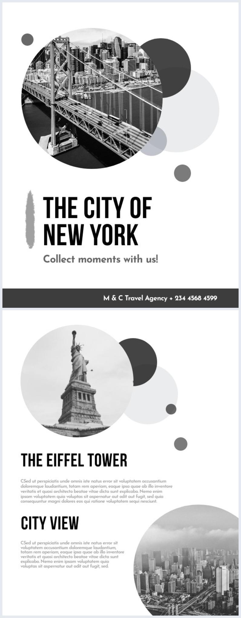 Design in bianco e nero per copertina di rivista di viaggi
