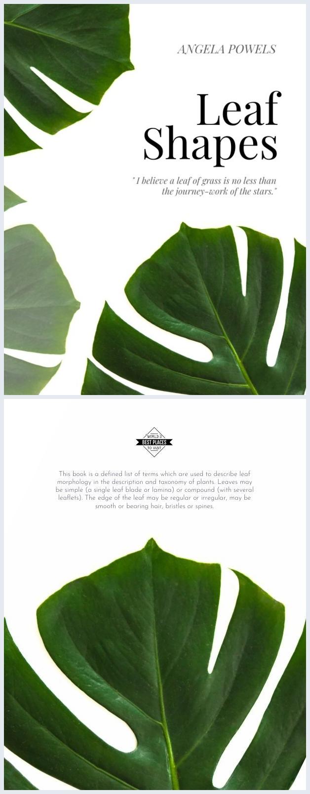 Design de Capa de Livro de Folhas Verdes