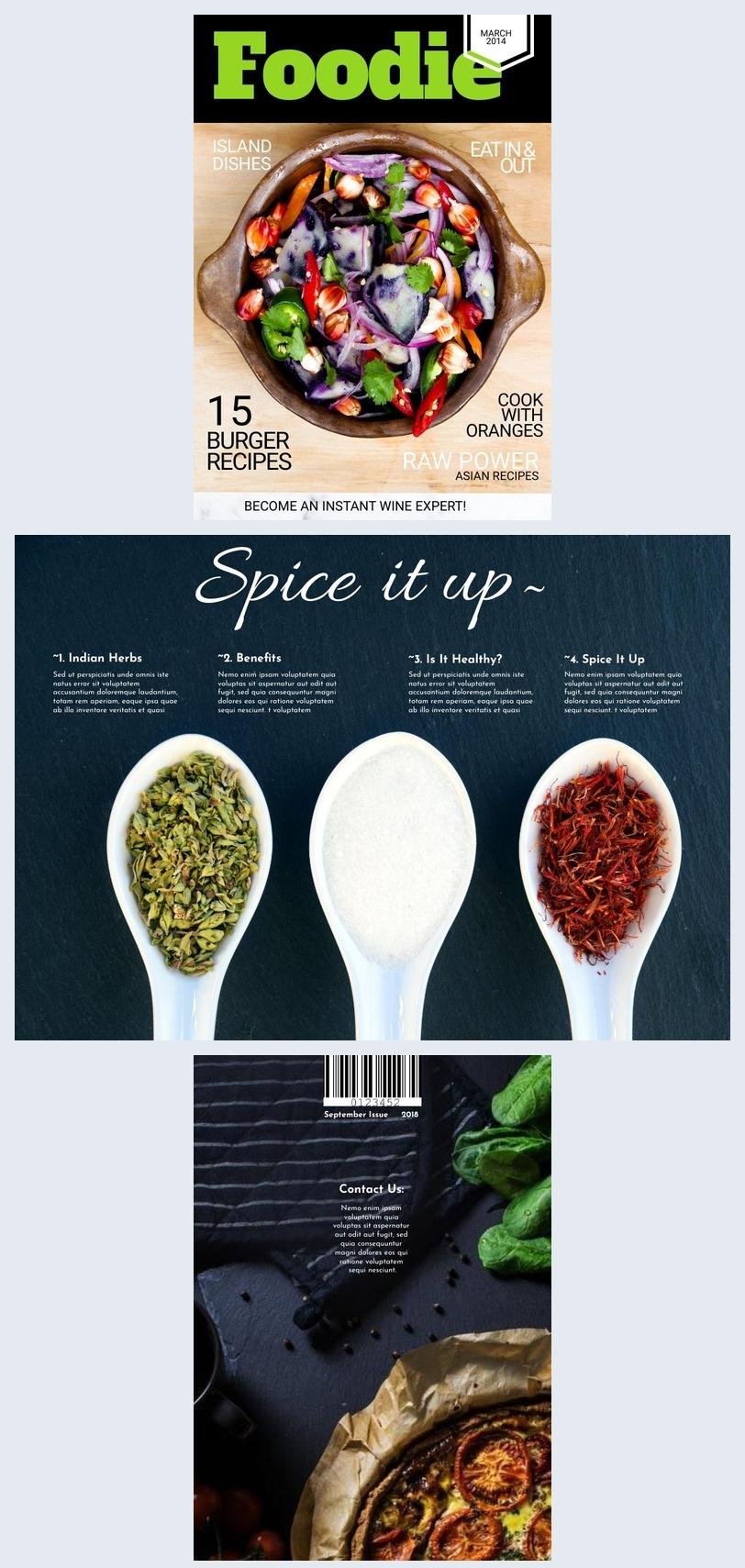 Design per copertina di rivista culinaria