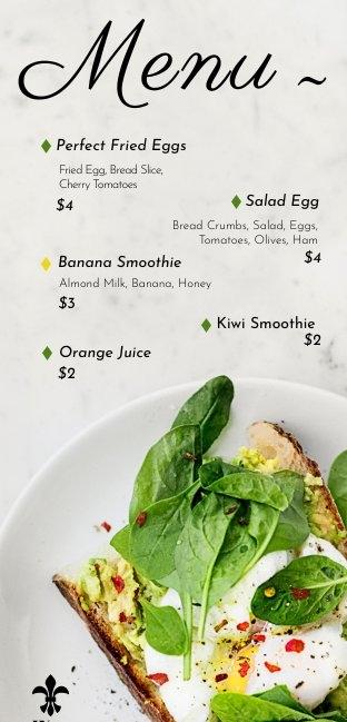 Ejemplo para menú de desayuno