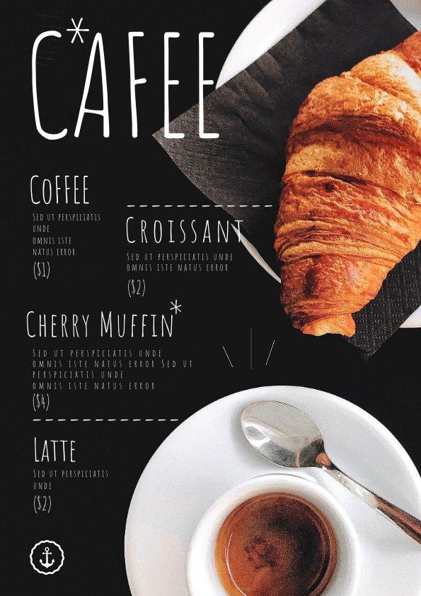 coffee shop menu template  u0026 design