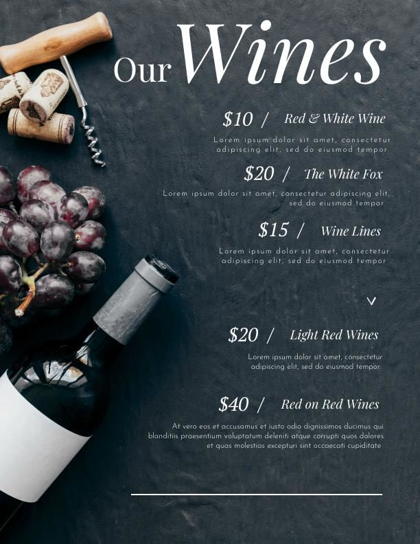 modern wine menu template  u0026 design