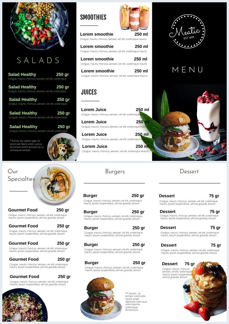 trifold salad menu brochure template  u0026 design
