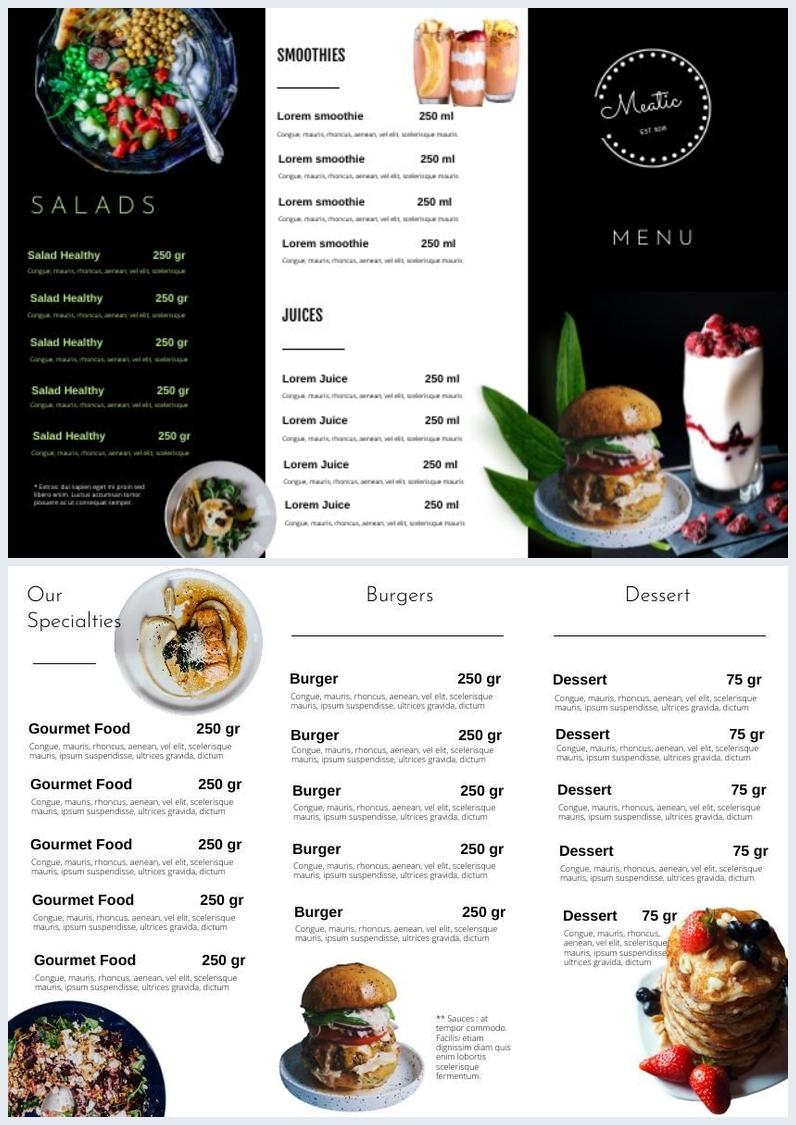Trifold Salad Menu Design