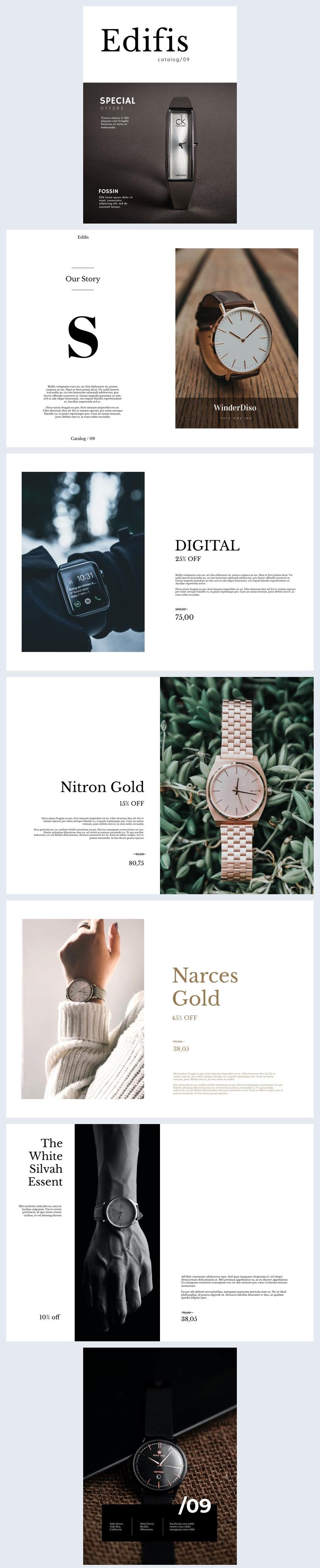 Diseño para catálogo o folleto de relojería