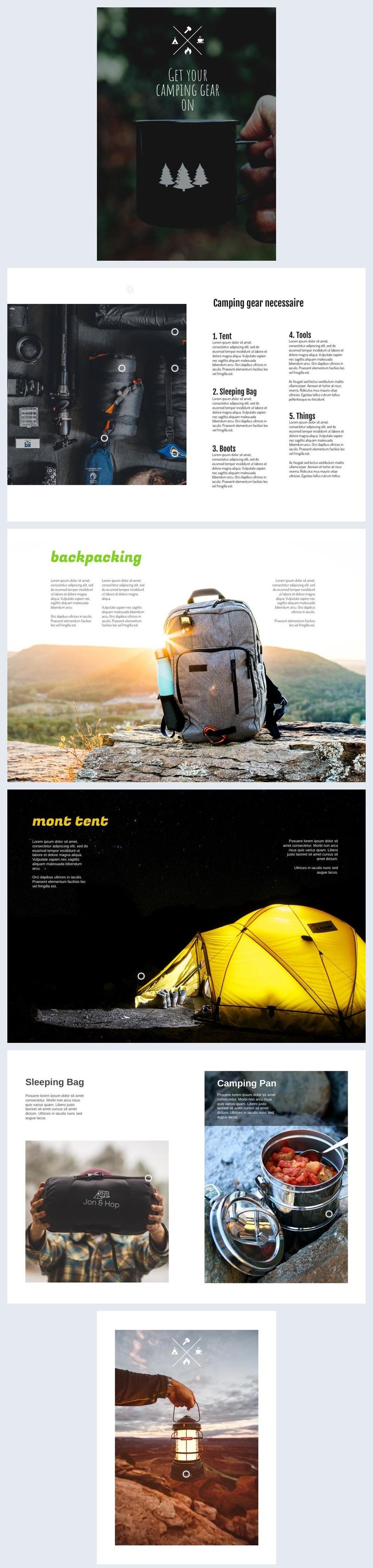 Design de Brochura de Catálogo de Equipamentos de Acampamento