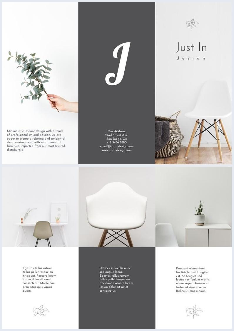Exemplo Minimalista de Folheto de Design de Interiores