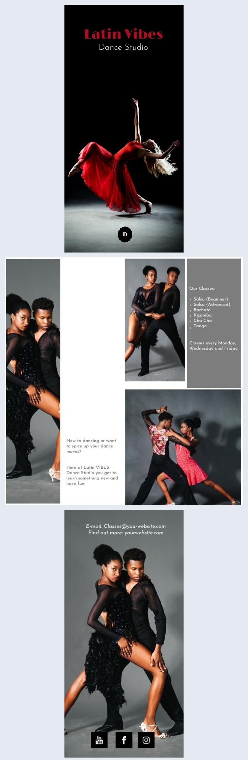 Brochure pour studio de dance à double volet / Design de flyer