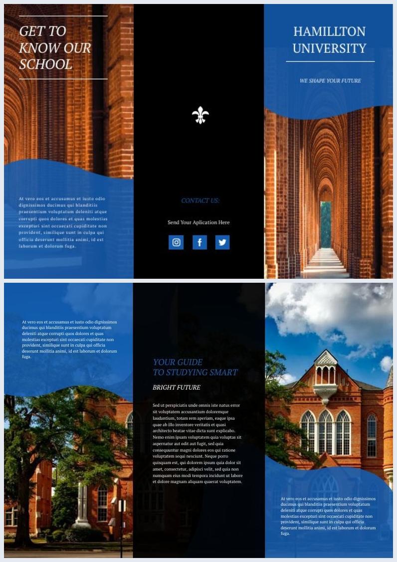 Exemple de brochure moderne à trois volets pour université