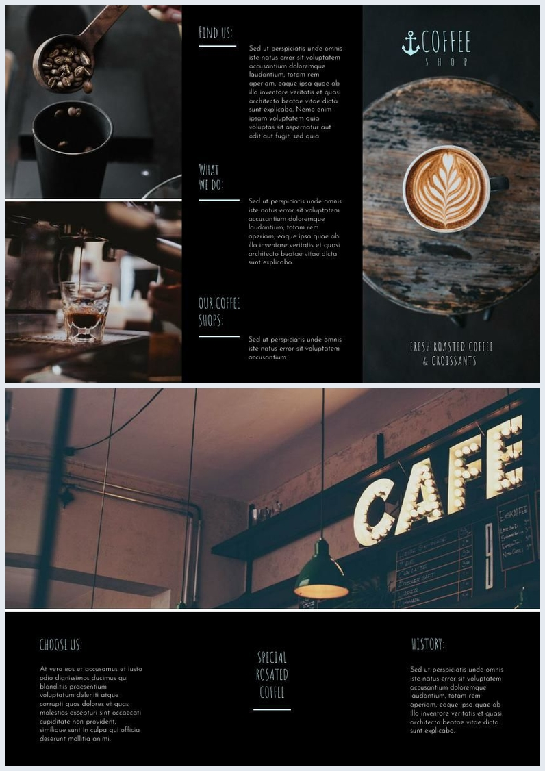 Dark Coffee Shop Tri Fold Brochure Example