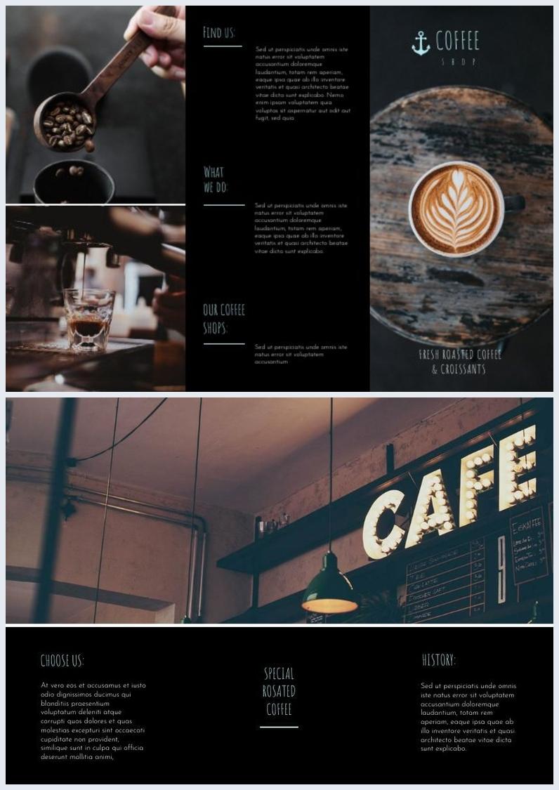 Exemple de brochure à trois volets de Dark Coffee Shop