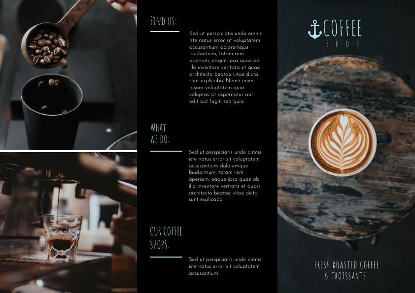 dark coffee shop tri fold brochure template