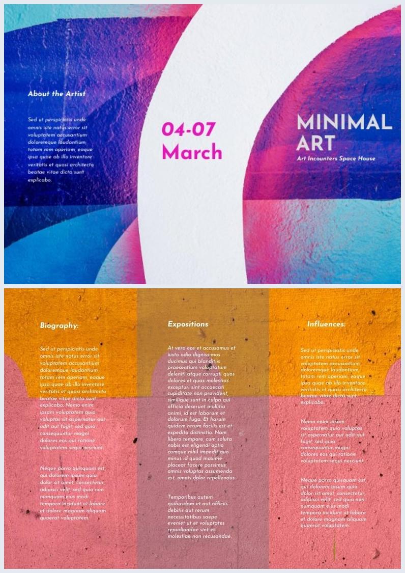 Design de brochure à trois volets colorée et abstraite
