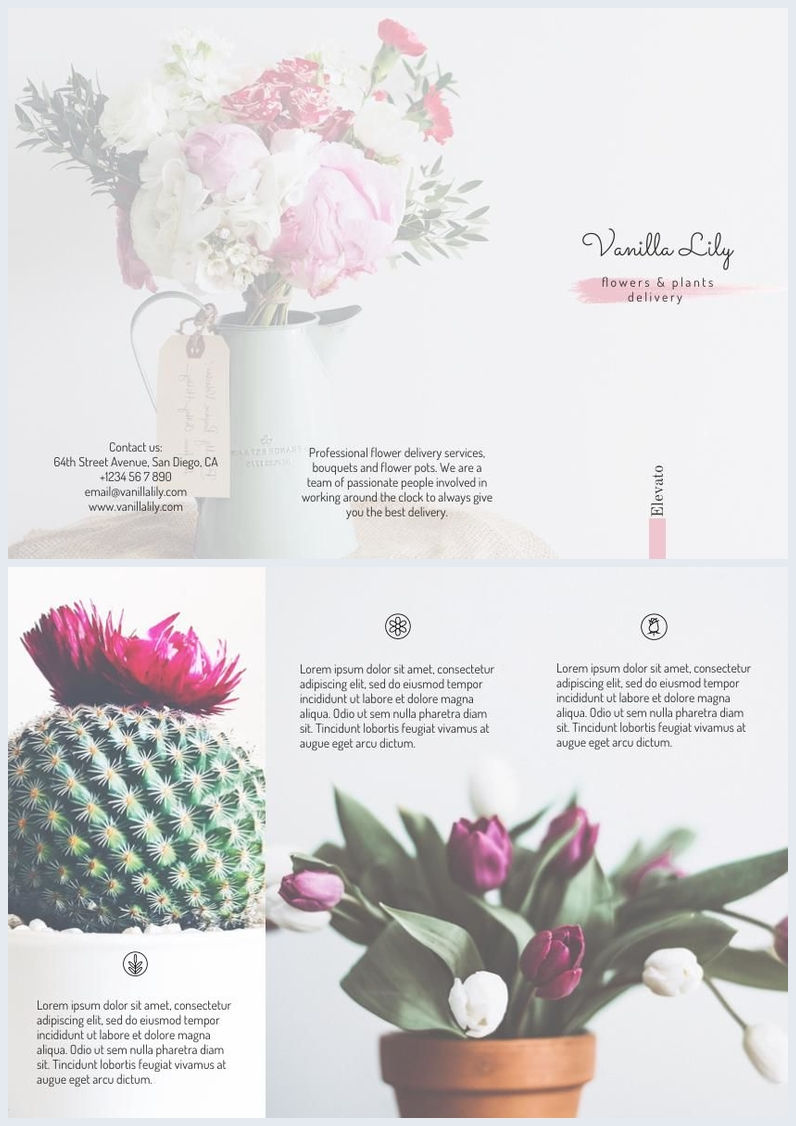 florist    flower delivery trifold brochure template