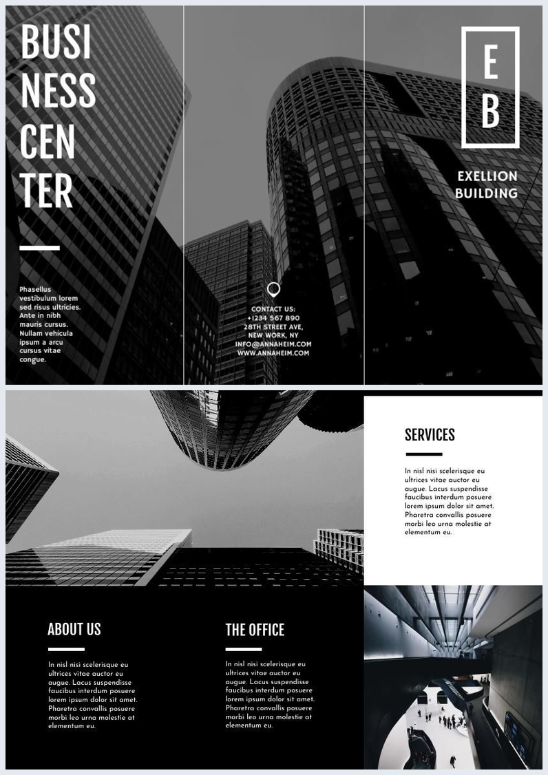 black  u0026 white trifold business brochure template