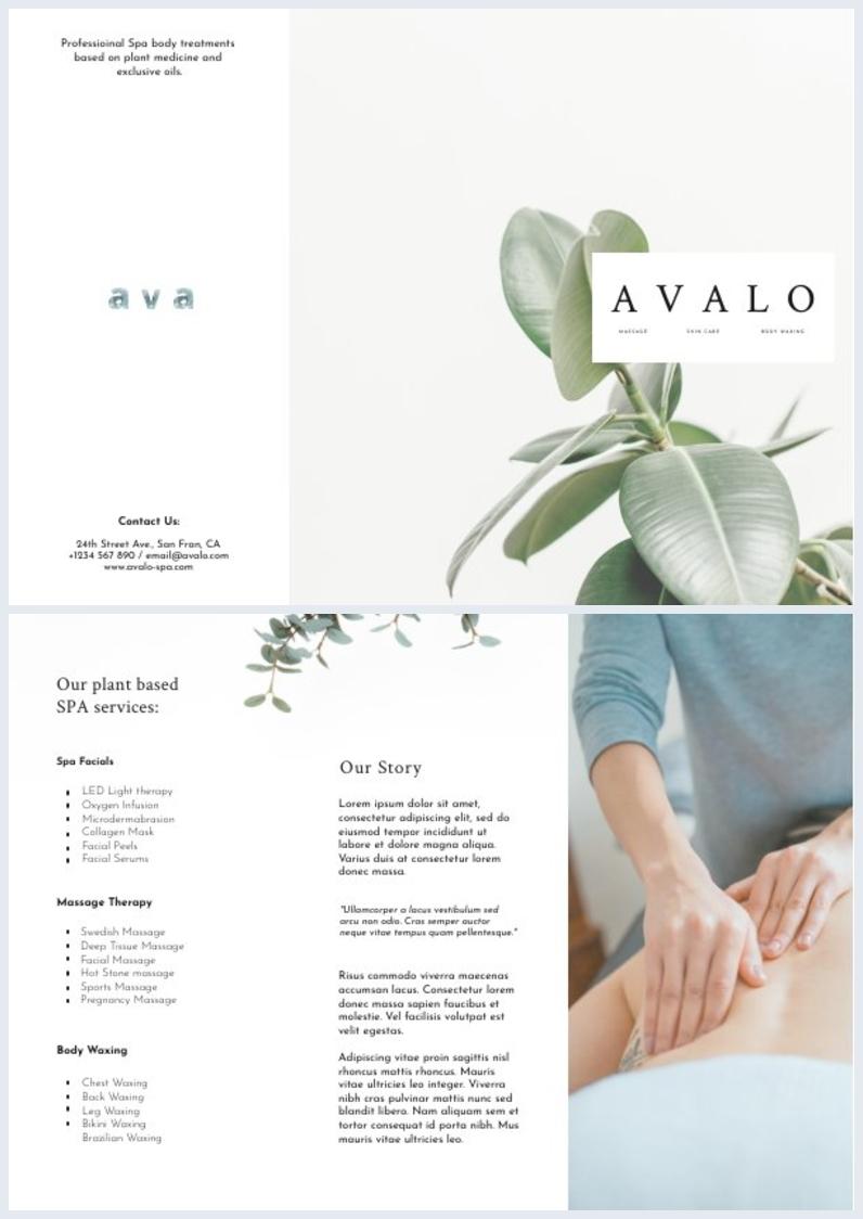 Spa Tri Fold Brochure Voorbeeld