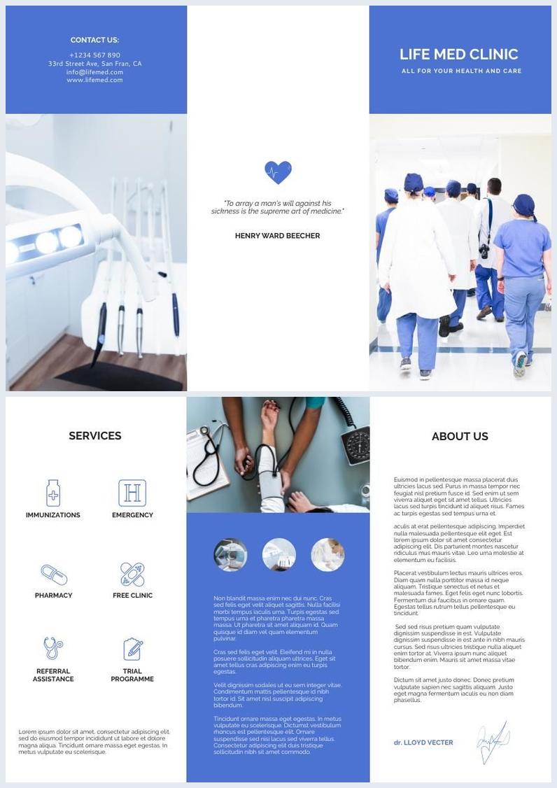 Campione di opuscolo pieghevole a tre ante per medici e sanità