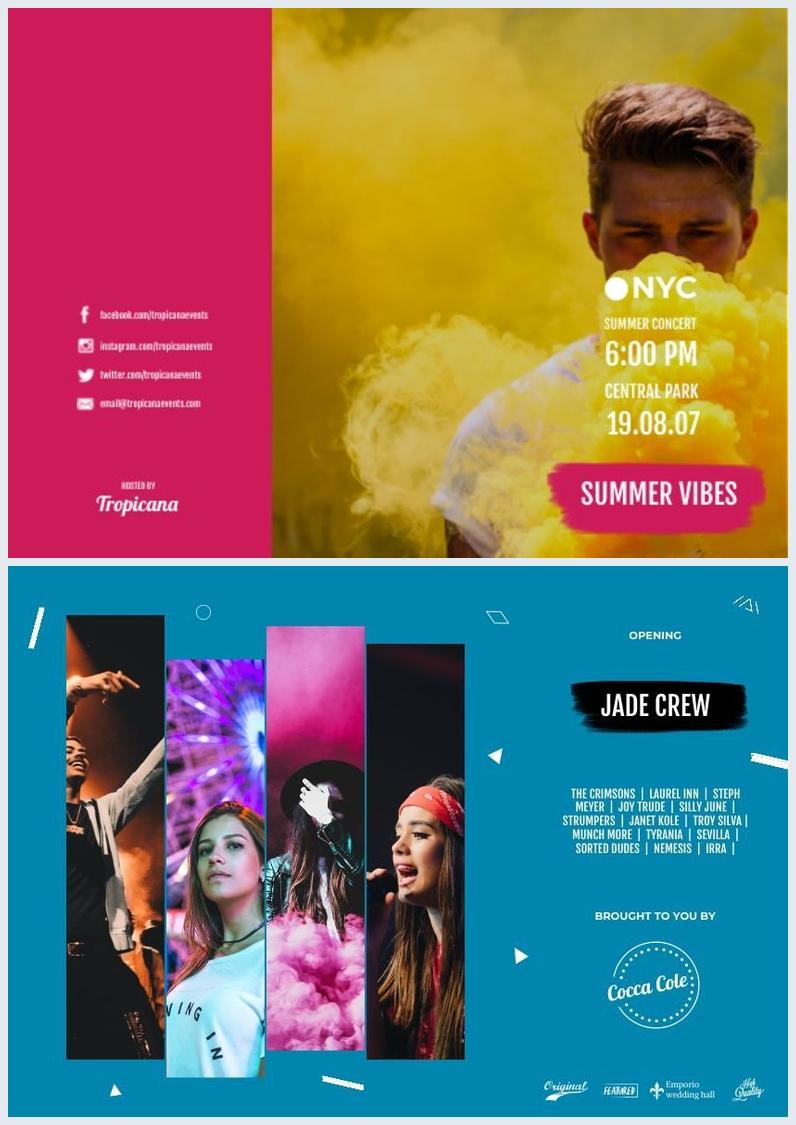 Design de brochure de festival de musique à trois volets