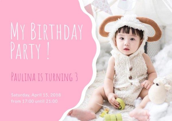 Roze Verjaardagspartij uitnodiging voor kinderen Sjabloon