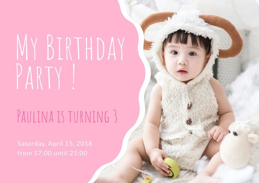 Pink Birthday Party Invitation for Kids Template
