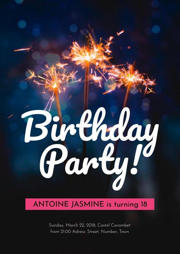Design e modello di invito per festa di compleanno