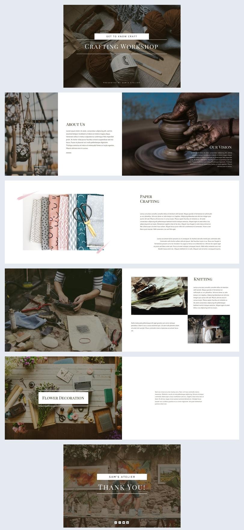 Plantilla para folleto de presentación de artesanías