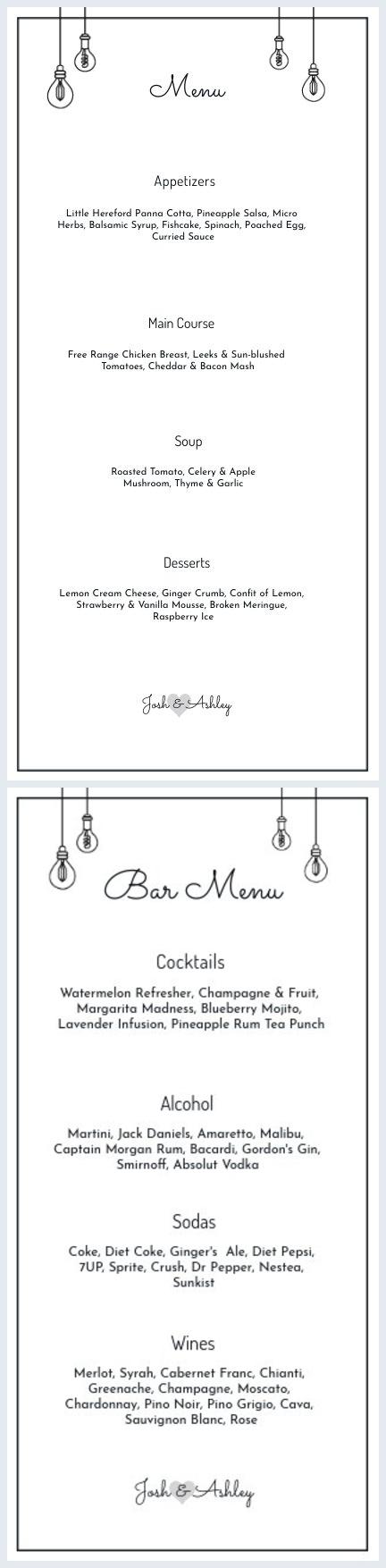 Afdrukbare restaurantmenukaart Sjabloon