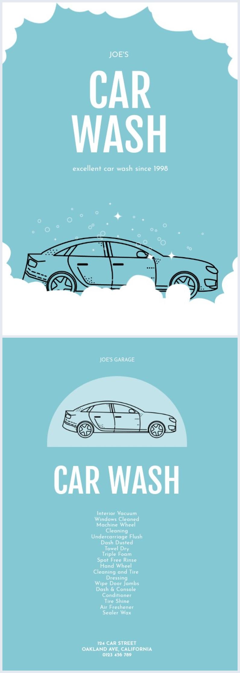 Modèle de flyer illustré bleu pour lavage auto