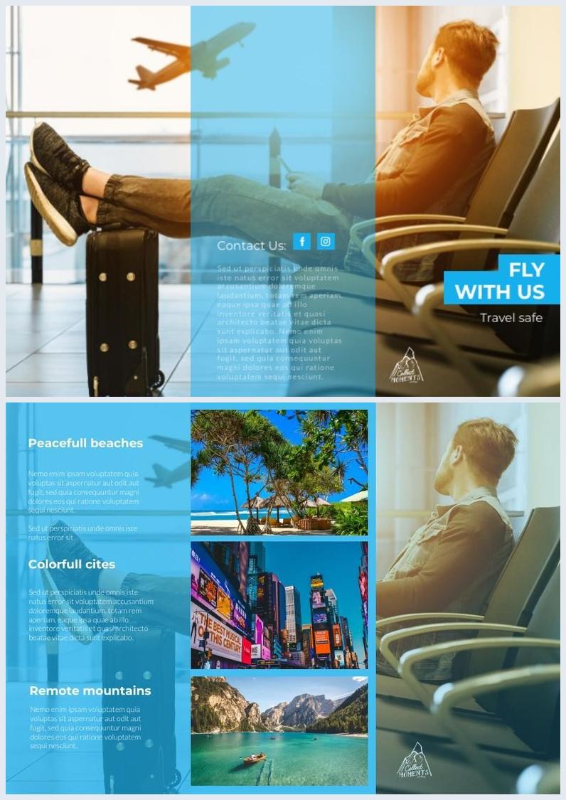 ReiseBroschürenvorlage & Design (dreifach gefalzt)