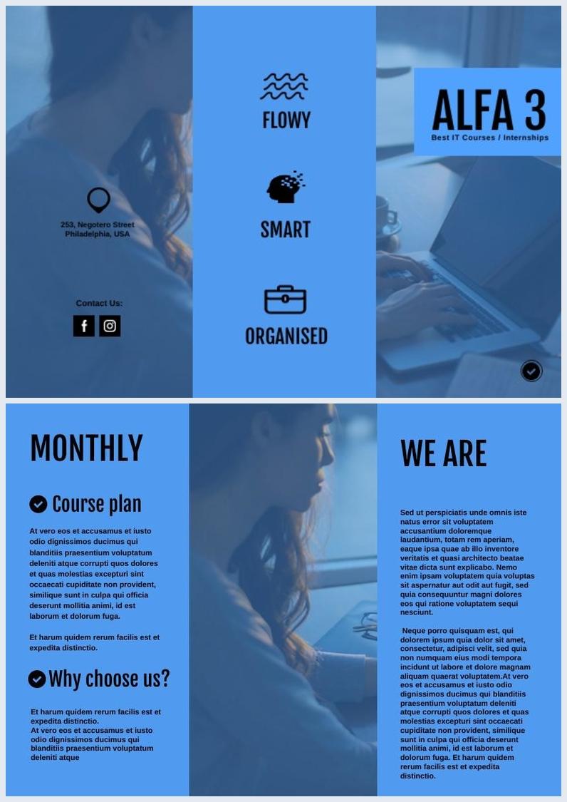 Blue Tri-fold Brochure Template & Design