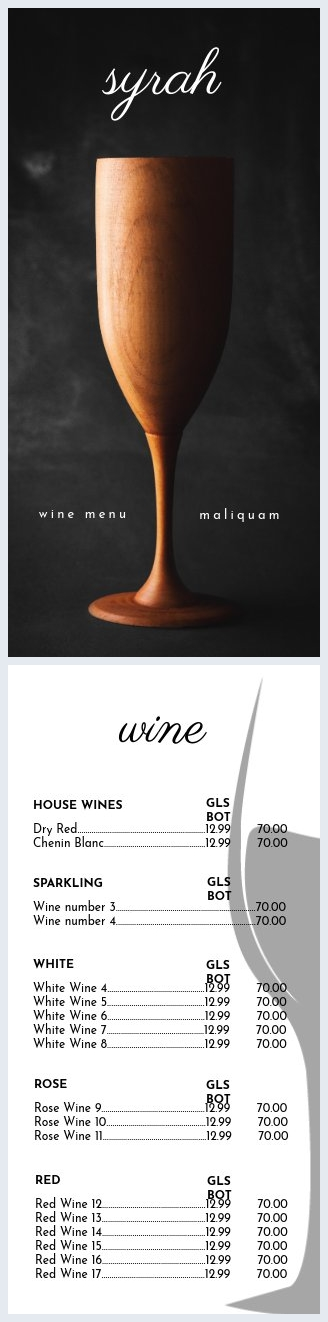 Wine List Menu Template