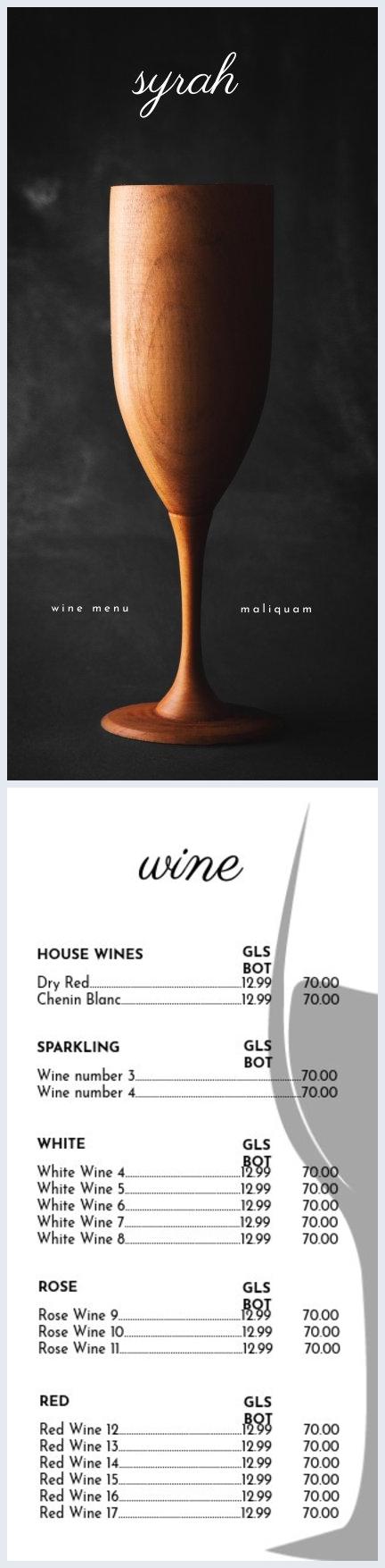 Plantilla para carta de vinos