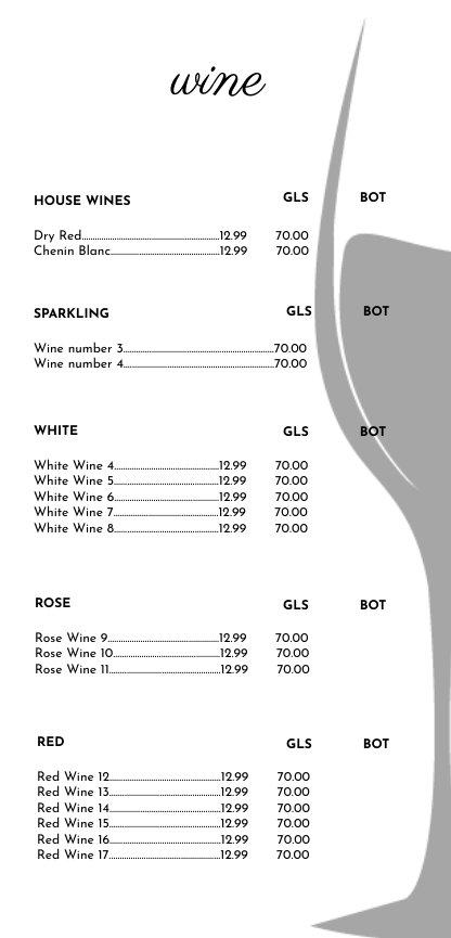 Wine List Menu Template