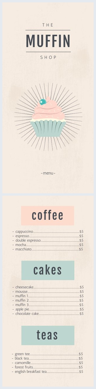Cake Shop Menu Template & Design