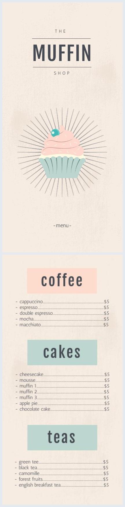 Modello e design per menù di pasticceria