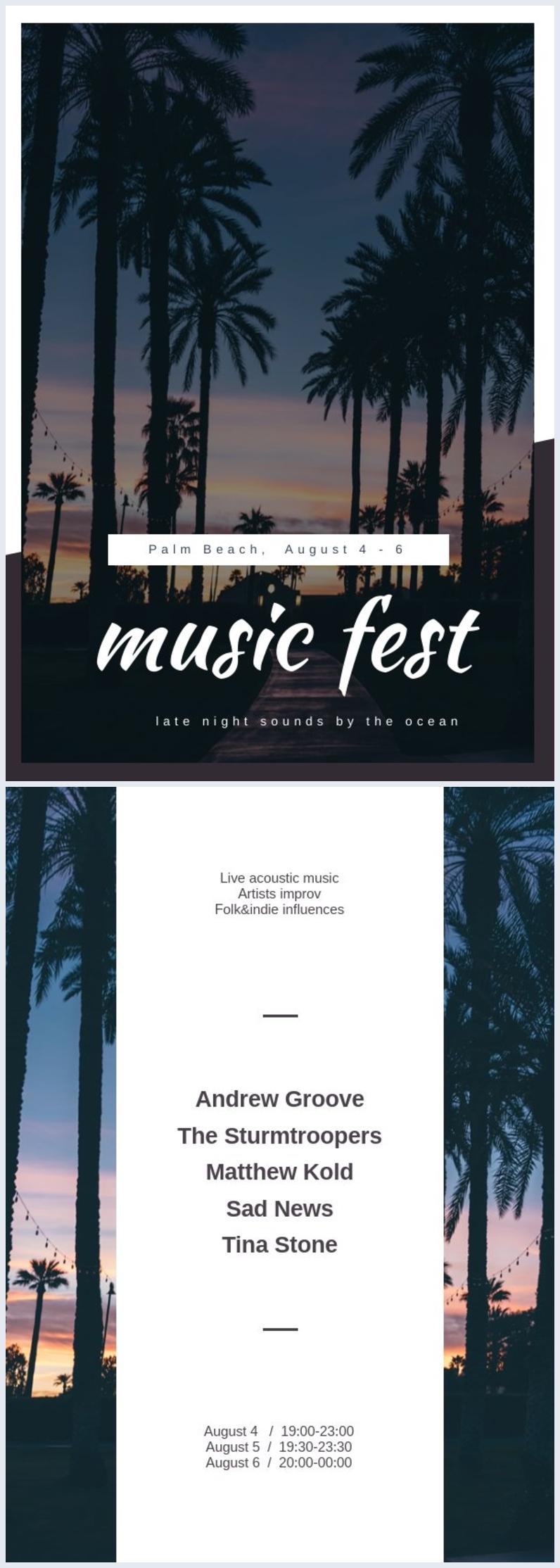 Exemplo de Modelo de Folheto de Festival de Música