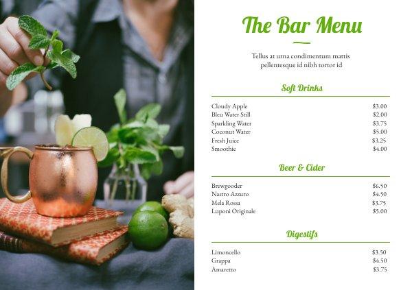 Bar & Drink Menu Template Design