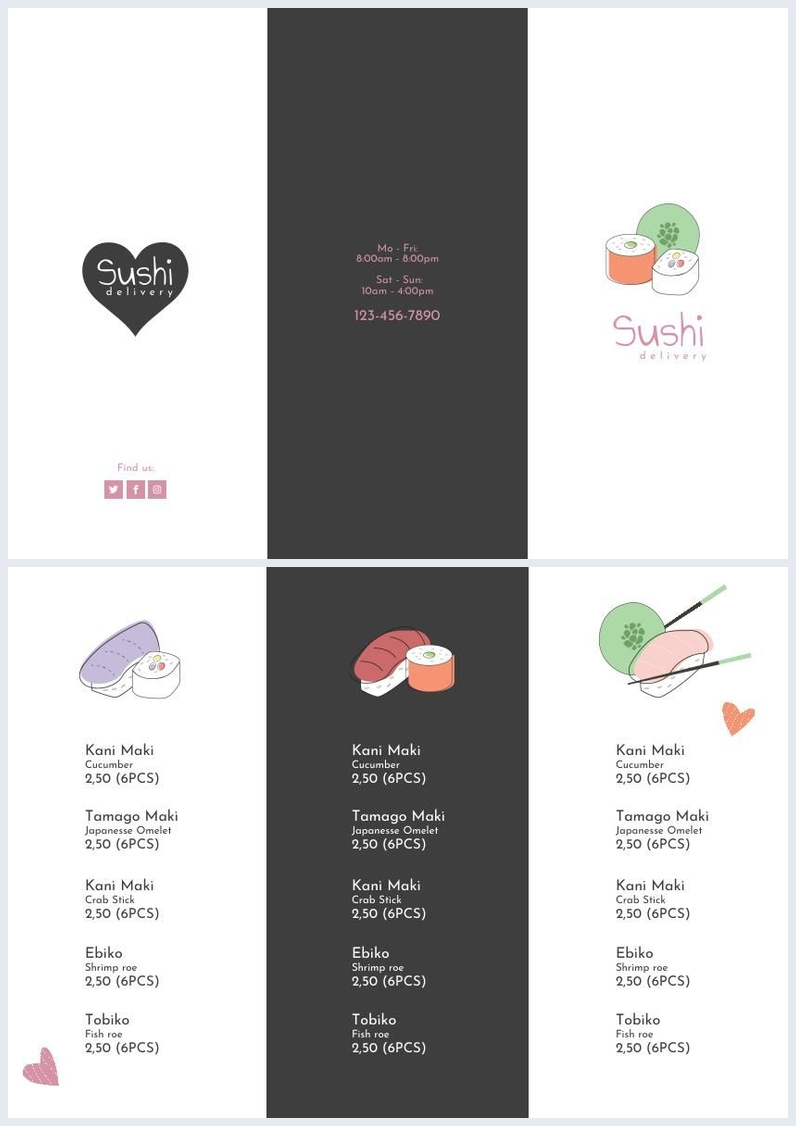Sushi Menu & Delivery Trifold Brochure Template