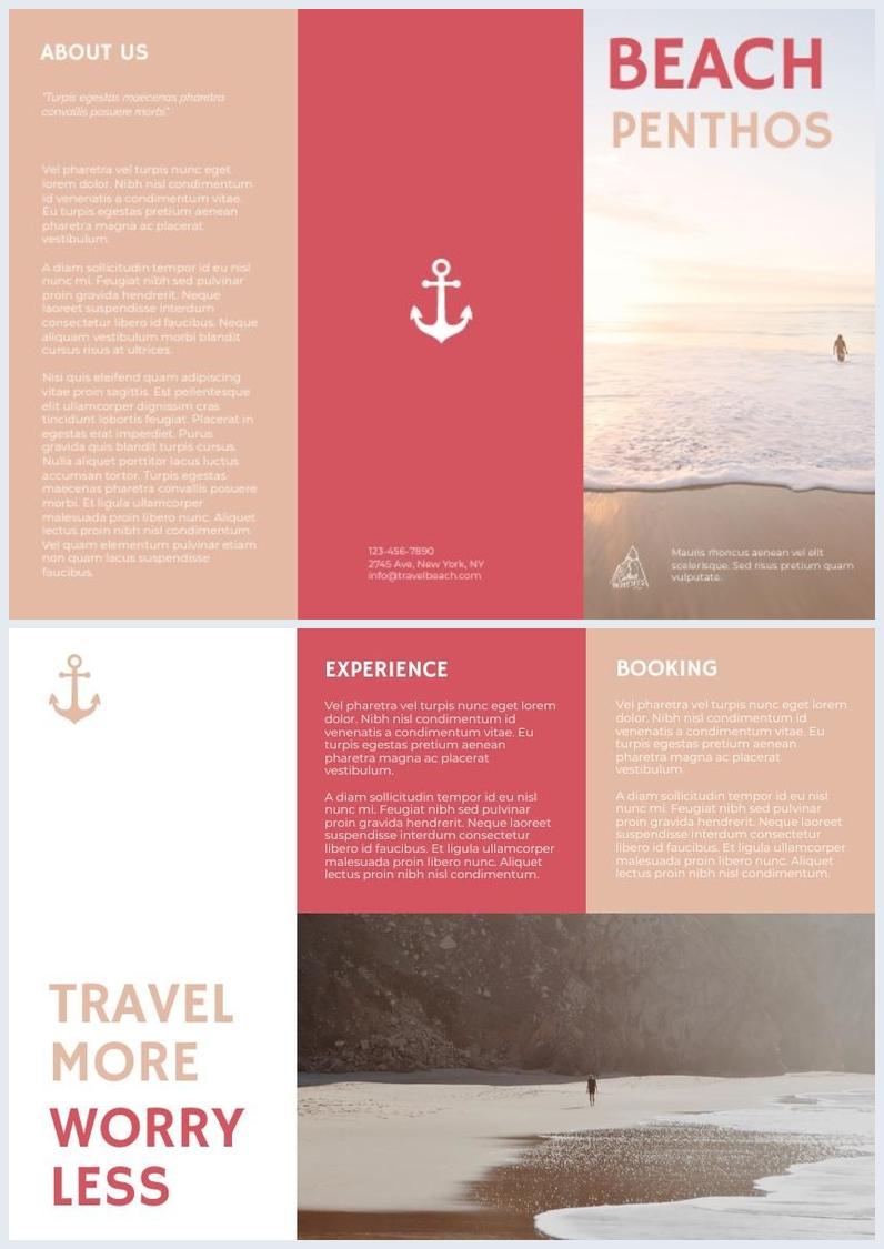 Modèle de brochure de voyage à trois volets pastel