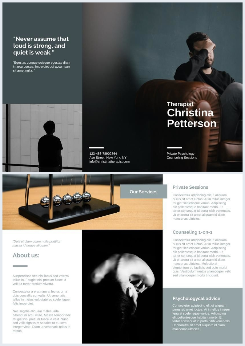 Therapy / Psychology Tri fold Brochure Template